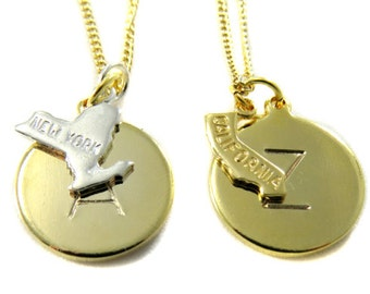 Birdhouse Jewelry- Letter and State on Gold Chain