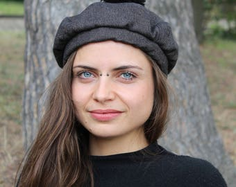 Beret edimbourg - black, brown and gold - 100% wool - isamanne