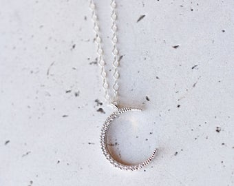 silver moon necklace