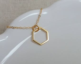 Gold Hexagon Necklace, Gold Geometric Necklace, Geo Jewelry, Layering Necklace, Christmas Gift, Minimalist Jewelry, Dainty Necklace