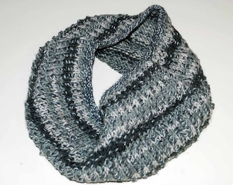 dark sage and gray hand-knitted cowl
