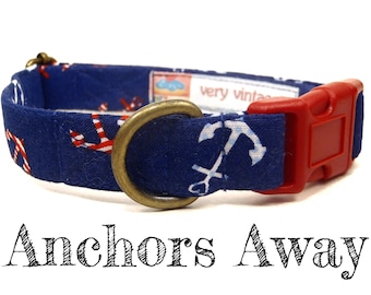 "Whimsical Navy Blue Anchors Summer Preppy Nautical Dog Collar - Antique Metal Hardware - ""Anchors Away"""