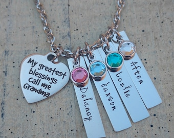 Custom Grandma Necklace / hand stamped jewelry / Grandma Necklace  / personalized Grandma Necklace  /  Grandma 1 2 3 4 5 6  name Necklace