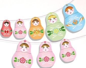 Printable Matryoshka banner, Russian nesting dolls banner, Matryoshka Party - bedroom Nursery decor - Instant download printable