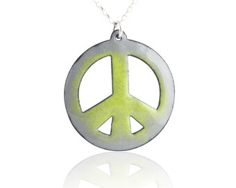 Green Peace Sign Enamel  Necklace