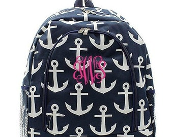 Monogrammed Backpack Personalized Anchor Navy Backpack Personalized Backpack Kids Backpack Girls Backpack Boys Backpack