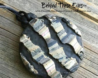 Fractured, Earthtones, Chunky, Rustic, Hand-Made, Polymer Clay Pendant - Unique Design