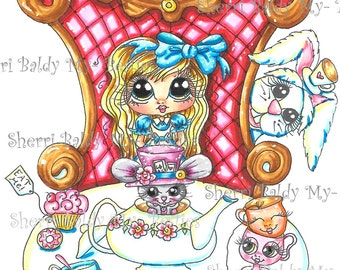 INSTANT DOWNLOAD Digital Digi Stamps Big Eye Big Head Dolls Img171 Alice In The Looking Glass Bestie By Sherri Baldy