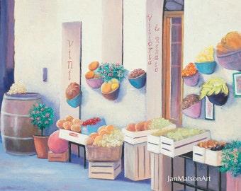 Tuscany painting, canvas art, Italy street scene,Tuscan wall art, Fruit shop painting, fruit and vegetable market, Etsy art, Casole d'Elsa