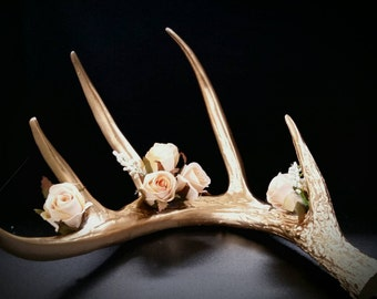 Faux Taxidermy golden antler with champagne roses