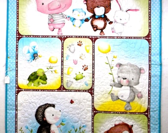 Sweet Stuffed Baby Animal Quilt for Baby or Toddler