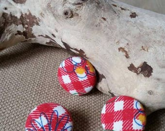 X 3 gingham Littles 22mm fabric covered buttons