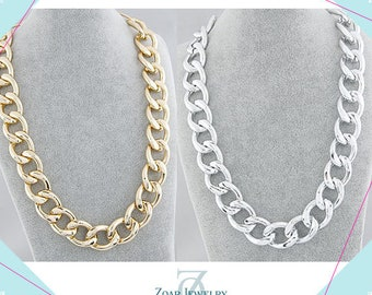 Chunky Link Necklaces, , Chunky jewelry, Chunky Chain Gold Bib Statement Fashion Party Necklace