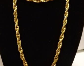 "Fabulous Flapper Length Heavy Quality Gold Plated Twisted Double Rope Chain Necklace 30"", 6mms, 60 grms. Christmas Gift, Wedding Jewellery."