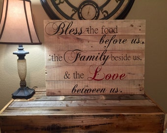 Bless the Food Before Us Sign made from reclaimed Pallet wood