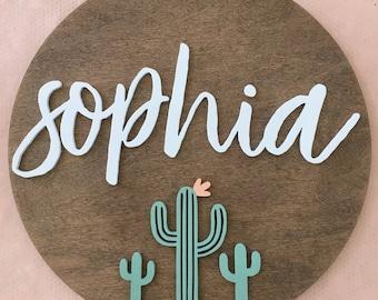 "Nursery Name Sign | 24"" | Cactus Wood Name Sign | Boho Nursery | Custom Name Sign | Name Sign for Nursery | Boho Name Sign | Letter Cutout"