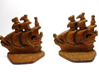 Vintage Ship Bookends