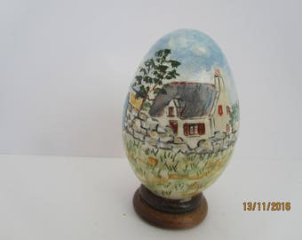 painted goose egg: Brittany landscape with scooter