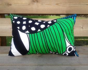 14 x 20 Pillow cover from Marimekko fabric Siirtolapuutarha, rectangular throw pillow cushion cover, modern Scandinavian green accent pillow