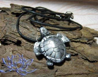 Pendant with turtle, mascot-turtle, handmade, cold porcelain, handmade, gift for her