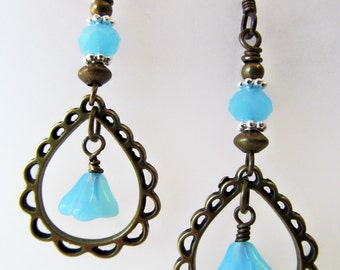 Teardrop Earrings - Sky Blue Turquoise Blue Czech Glass Earrings - Flowers Chandelier Niobium Earrings - BeadedTail