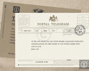 Personalised Telegram, Greetings, Invitation, Birthday, Congratulations, Graduation, Wedding