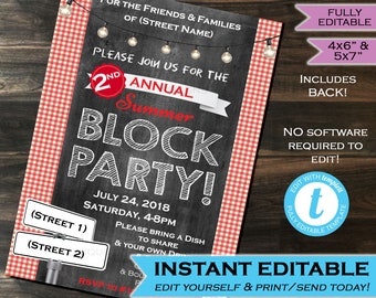 Block Party Invitation Street Party Neighborhood Invite HOA Party Community Party BBQ - Printable Personalized Chalkboard INSTANT Self Edit