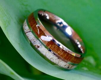 Custom Engraved Natural Deer Antler Ring with Koa Wood Inlay - Mens Band, Womens Wedding Ring Titanium Hunter Ring  - FREE Engraving