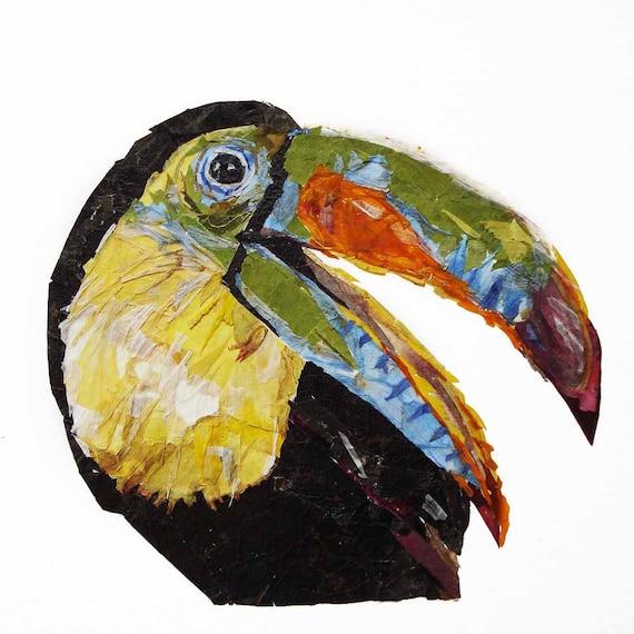 Wall art Dry flowers Parrot artwork Bird painting Real flower