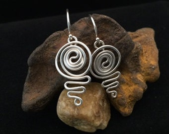 Handmade, Sterling Silver Wire Wrapped Earrings