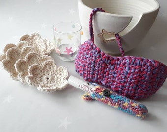 Spa recovery package - free postage - eye mask, tea light holder with tea light, 6 cotton scrubbies, lip balm holder with an aloe lips