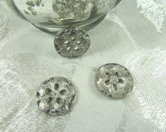 Vintage silver color cutout flower finding/connector or drop