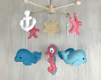 Baby mobile - ocean mobile - crib mobile -octopus - sea horse - dolphin - whale- sailboat - lighthouse - nautrical mobile - baby mobiles