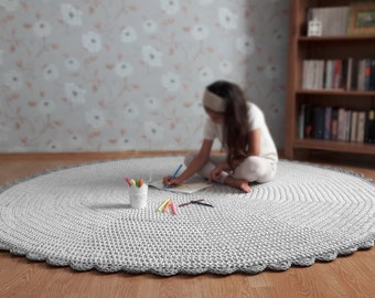Light Grey Crochet Rug, Nursery Rug, Kids Room Rug, Grey Floor Mat, Grey Nursery Decor