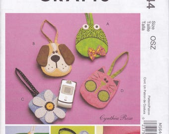 FREE US SHIP McCalls 5644 Craft Sewing Pattern Whimsical Cell Phone Case Purse Bag Uncut new Out of Print Dog Frog Car Flower Boho