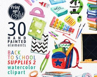 SCHOOL clipart, school supplies clipart, watercolor clipart,back to school clipart,stock illustration,school supplies,books,
