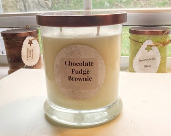 Chocolate/Fudge/9 oz/Vegan/Soy/Candle/Hand Painted/well being/Mom/Mother's Day/gift/Under 10