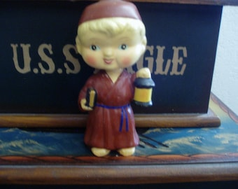 Vintage Monk with Book and Lantern Bobble/Knodder Head Doll