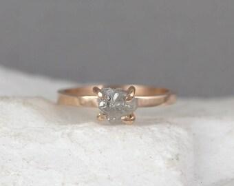 Raw Uncut Rough Diamond Engagement Ring - 14K Rose Gold-Rough Diamond Gemstone Ring - April Birthstone - Anniversary Ring - Conflict Free