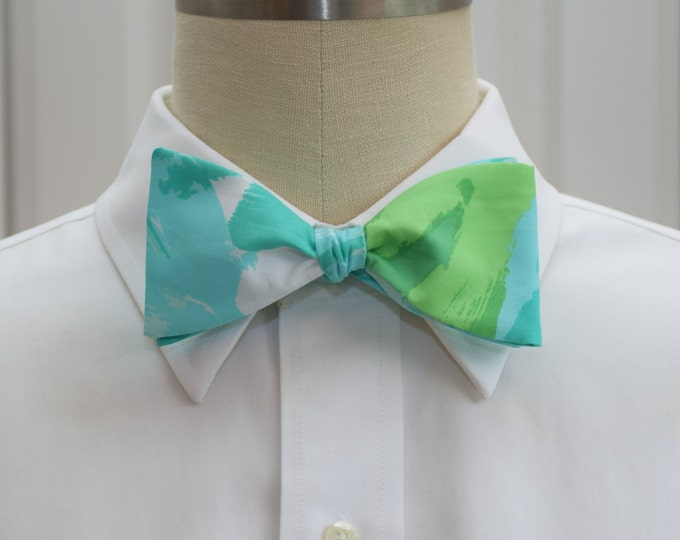 Men's Bow Tie, pool blue First Impressions Lilly print bow tie, groomsmen/groom bow tie, wedding bow tie, prom bow tie, tux accessory