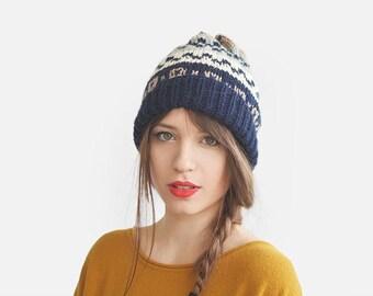 Fair Isle Ski Hat, Multicolor Beanie, Warm Winter Hat, Mens Wool Beanie, Unisex Jacquard Hat, Slouchy Beanie, Custom Hat