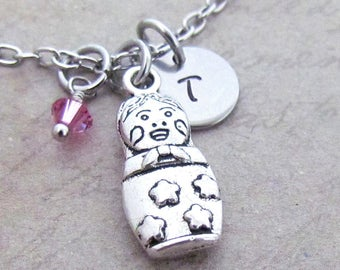 Matryoshka Charm Necklace, Personalized Antique Silver Hand Stamped Initial Monogram Russian Nesting Doll Charm Necklace