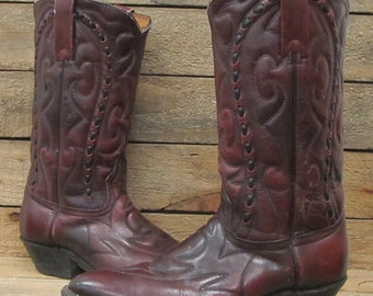 Vintage Mens Durango West Size 7D Distressed Brown Leather Western Cowboy Boots