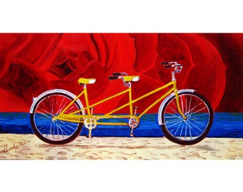 Tandem Bicycle Built for Two Painting, Schwinn Yellow Vintage Bike, Wedding Gift, Valentine's Day Gift, Bicycle Anniversary Gift for Parents