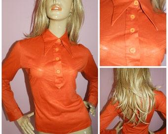 Vintage 70s Burnt ORANGE DAGGER collar shirt blouse top 14-16 L 1970s Stretch Disco Secretary