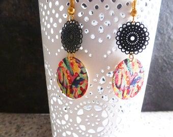 Multicolor glitter Stud Earrings, graphic spirit