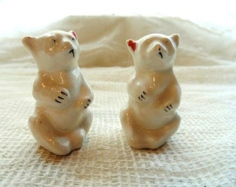 POLAR BEARS- Hand Painted- Creamy Ivory with Red & Black Detailing- Cute and Unusual Old Cabinet Collectibles-Fun Vintage Pair of Bears