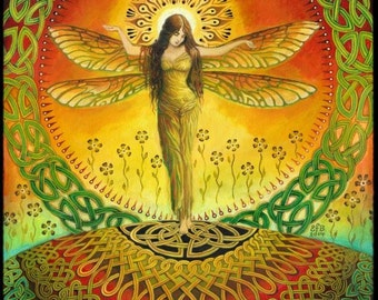 Dragonfly Goddess 11x14 Print Fine Art Print Pagan Mythology Bohemian Witch Celtic Fairy Goddess Art