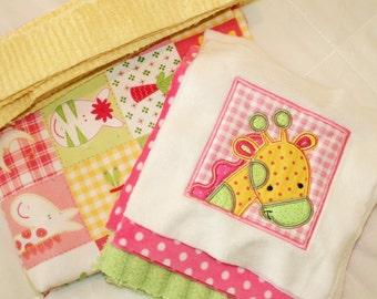 "Minky Appliqued Blanket kit  ""Too, Too Cute Jungle"""