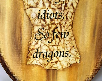 Handmade Mixed Media Canvas - Dragon Quote Mixed Media Canvas - Mixed Media Canvas - Village Idiot Canvas - Dragon Quote Painting - 10-001